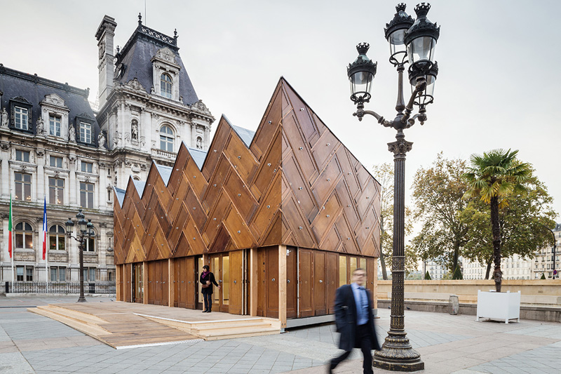 This Pavilion In Paris Is Made From 180 Recycled Wooden Doors