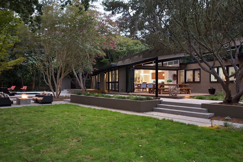 Klopf architecture were asked by their clients to remodel a run down mid century modern house located in lafayette california
