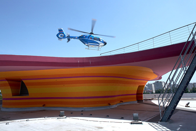 This is probably the most interesting helicopter landing pad you'll see today