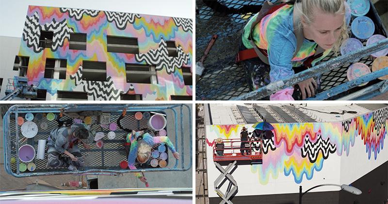 Technicolor Drip, a public art installation by artist Jen Stark