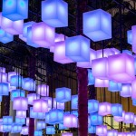 A glowing canopy of 650 lanterns inside New York's Brookfield Place