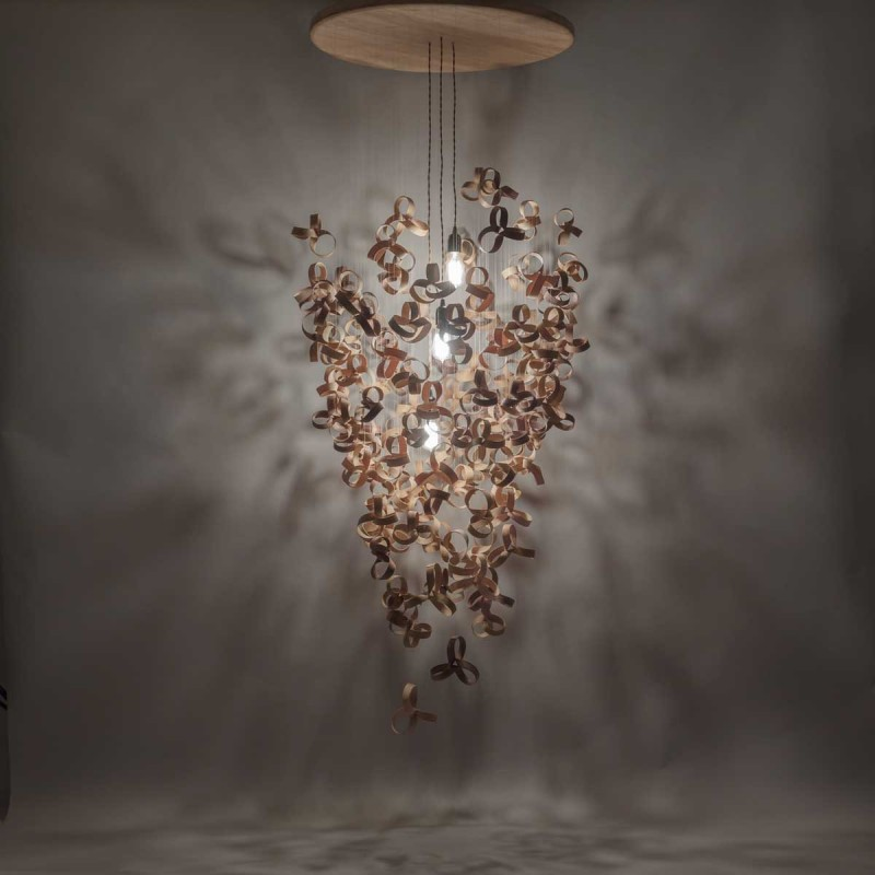 Cute This chandelier has been made from over steam bent wooden shapes