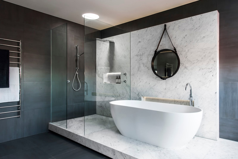 12 photos of an understated elegant monochromatic bathroom contemporist. Black Bedroom Furniture Sets. Home Design Ideas