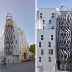 Sculptural mesh structures give this apartment building its own personality