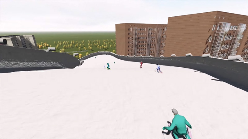 Ski slopes designed as part of building designs