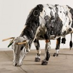 This artist made a collection of farm animal sculptures from unconventional materials like shoes, mops, and leather bags