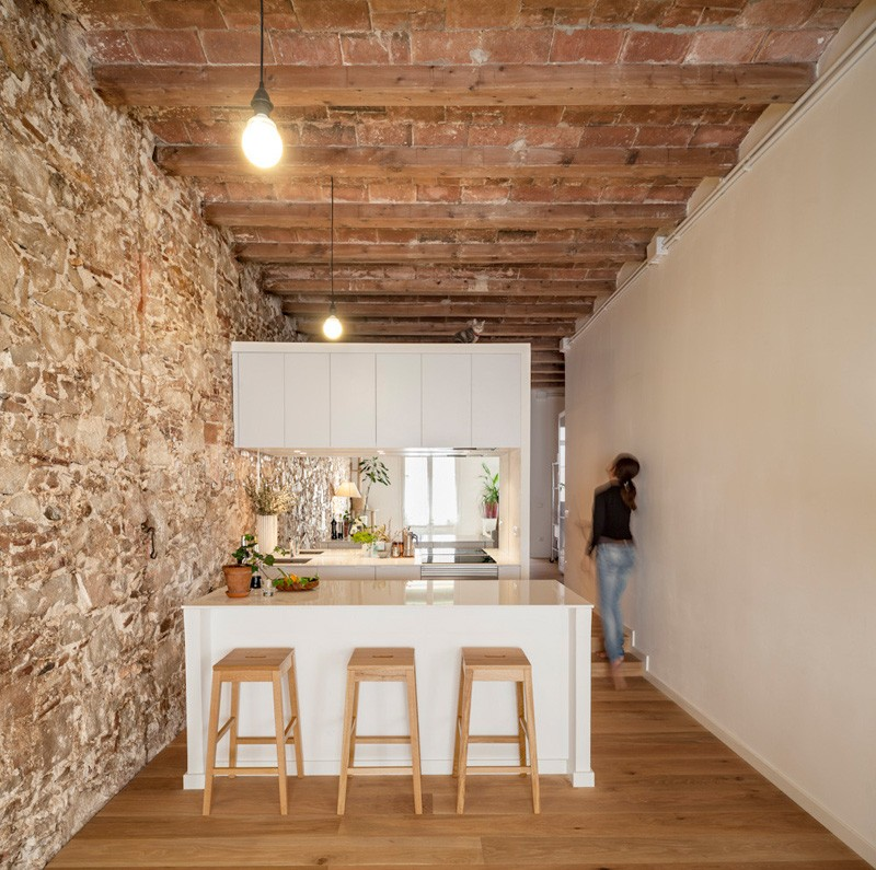Interior renovation of an apartment in Barcelona, Spain, designed by Sergi Pons.