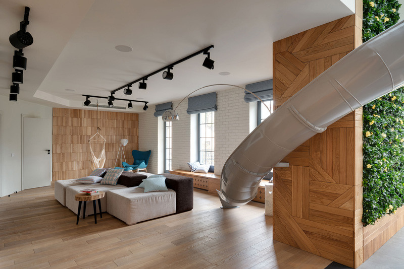 This Renovated Apartment In Ukraine Had A Slide Installed