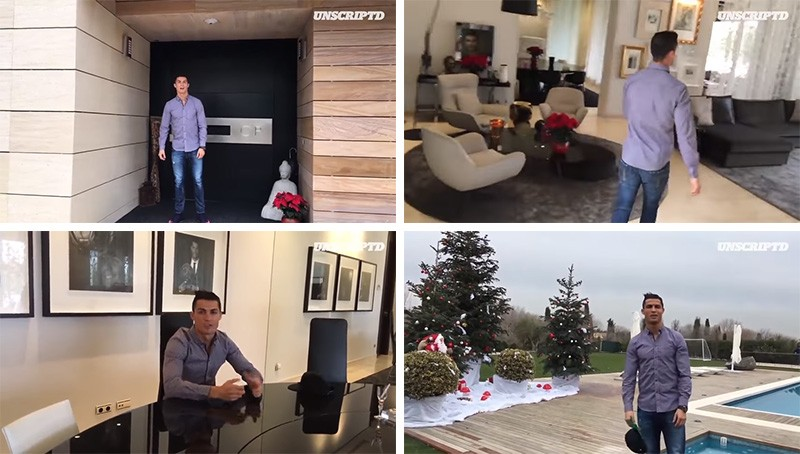 Watch Cristiano Ronaldo take you on a quick tour of his house in Madrid
