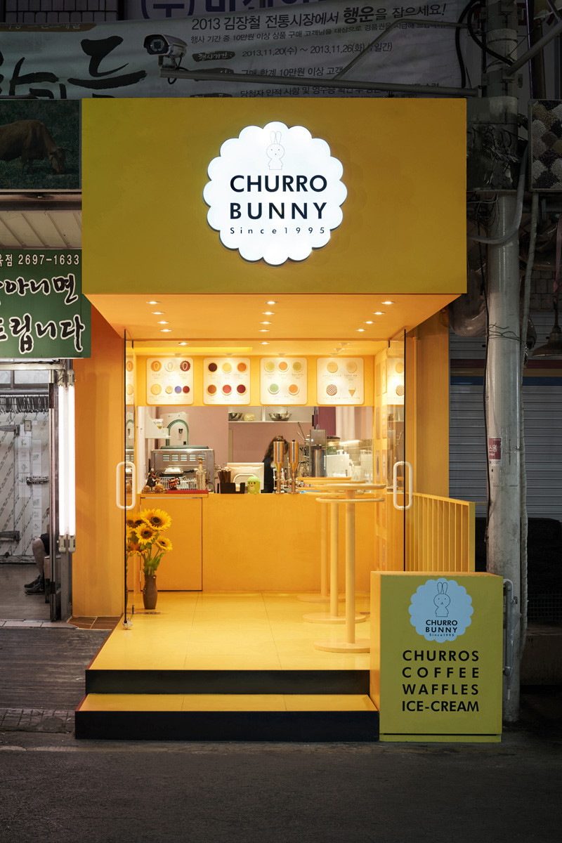 Churro bunny adds a bright pop of yellow to this street in
