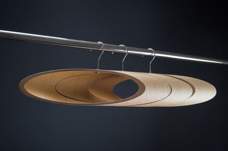 These coat hangers are made from cardboard tubes