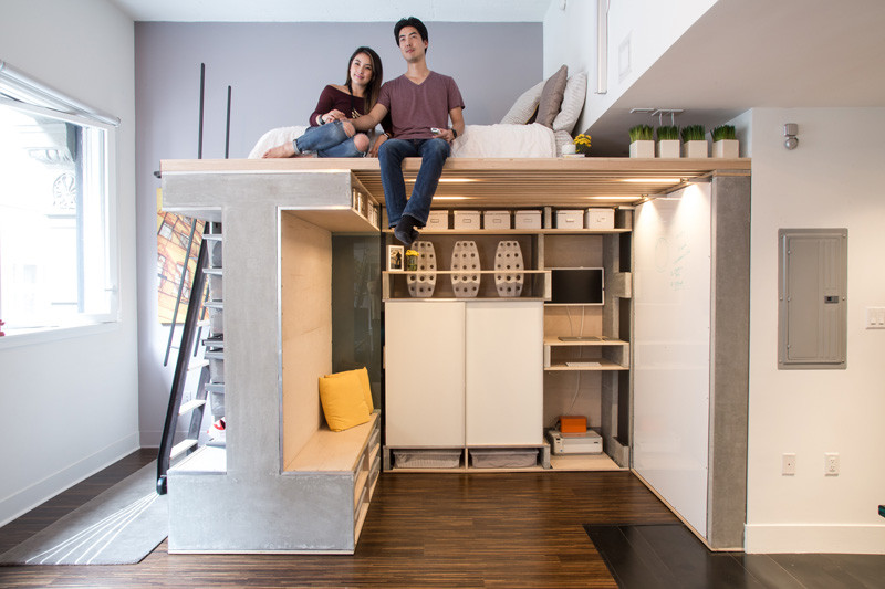 A space-saving loft was designed for this small apartment in San ...