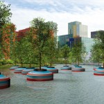 A floating forest is being installed in the City of Rotterdam