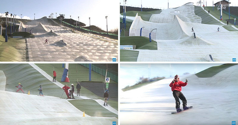 French People Ski On A Fake French Ski Slope