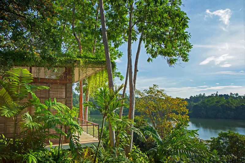 This vacation resort is on an island in the middle of a Sri Lankan lake.
