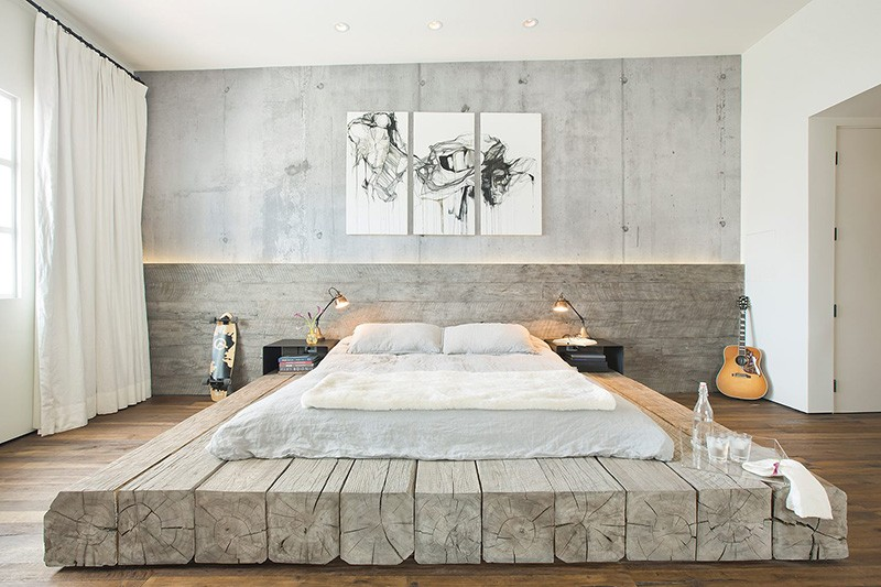Design Detail ? A platform bed made using reclaimed logs