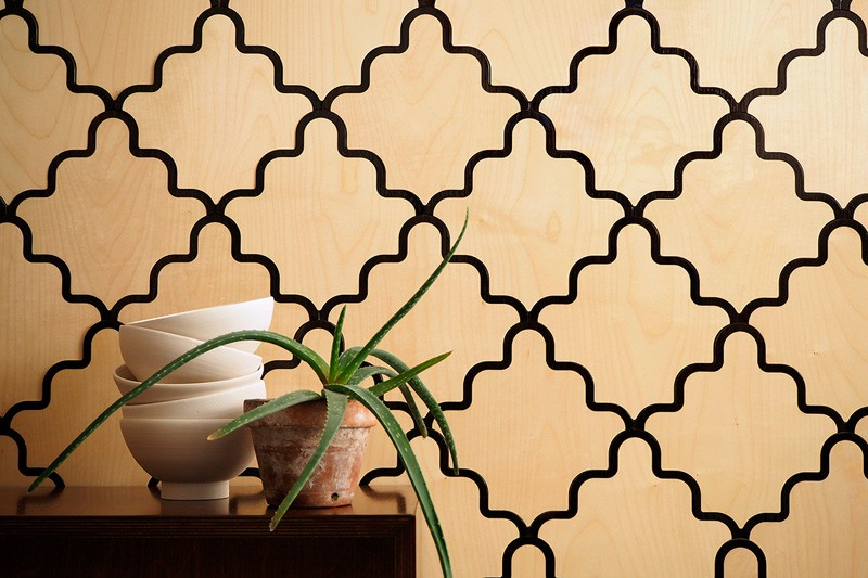 These wooden wall tiles have been inspired by Venetian inlay work