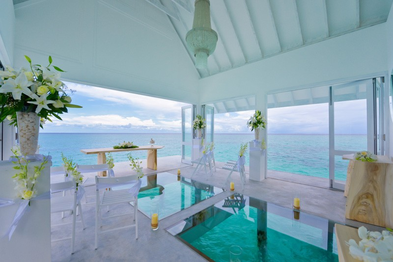 Afloat, an overwater wedding pavilion at the Four Seasons Resort Maldives