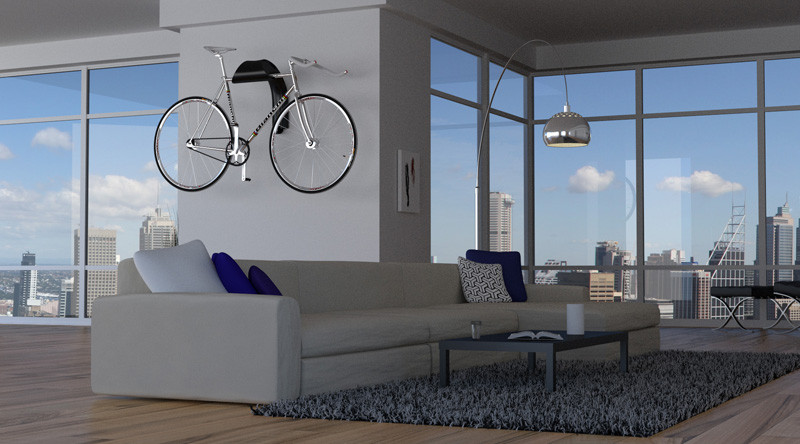 This sculptural bike wall mount is designed to showcase your ride like a work of art