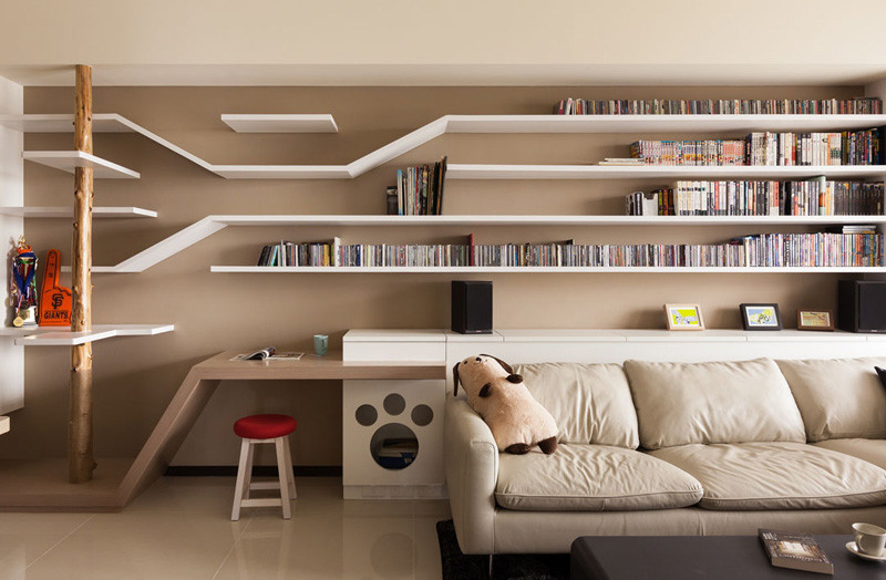 Custom Shelving In This Home Keeps The Cat Happy