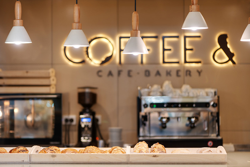 COFFEE &, a small cafe-bakery in Kiev, Ukraine, designed by YUDIN Design