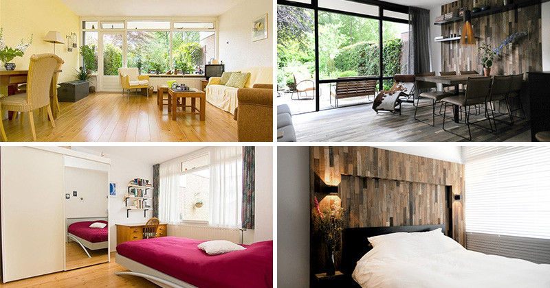 Before & After - A home gets updated with lots of wood and touches of black