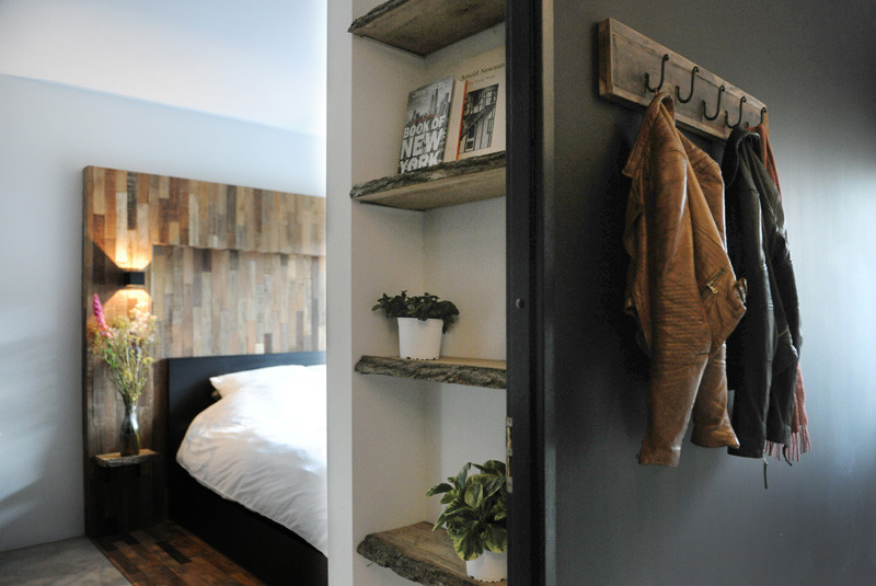 Before & After - An home gets updated with lots of wood and touches of black