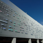 An artist covered this parking garage in Morse code