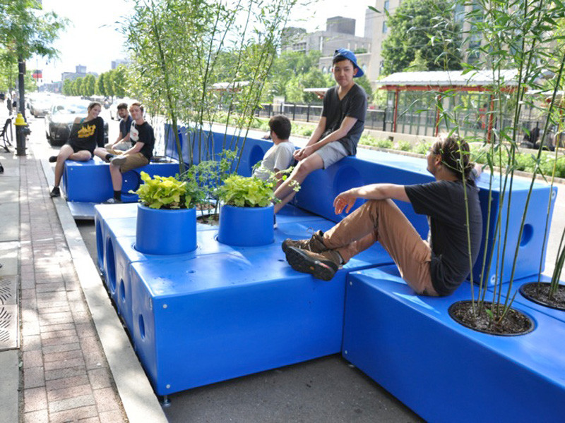INTERBORO designed these modular blocks, made from a durable plastic, that can be stacked, arranged, and moved to create parklets in a range of sizes and configurations, like this one in Boston, Massachusetts.