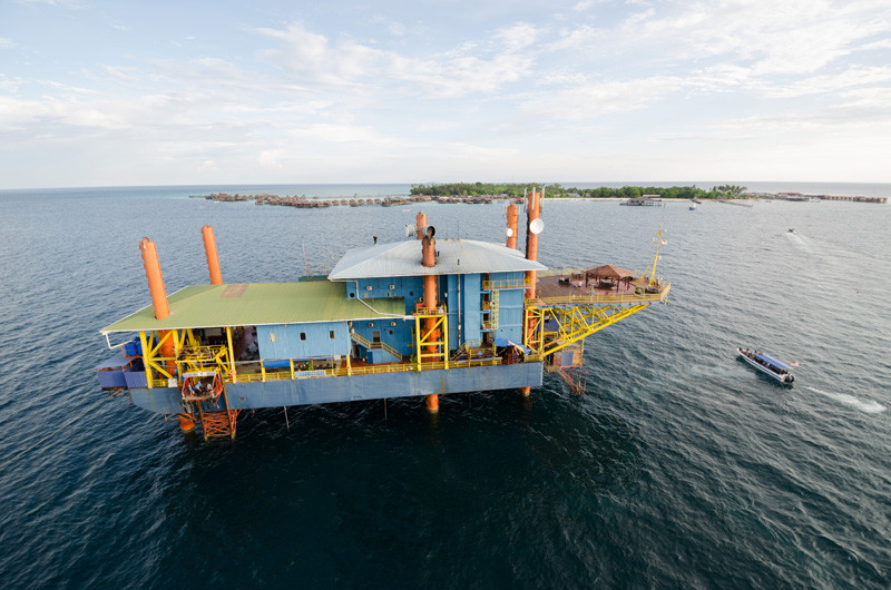 You can stay in a converted oil rig in Malaysia and go diving