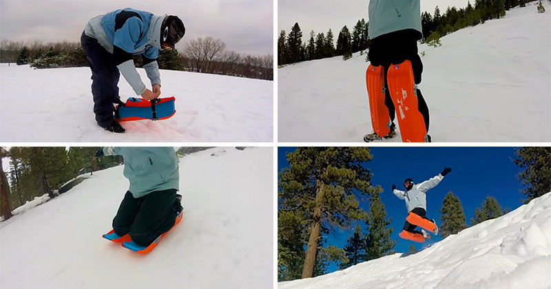 Sled Legs, wearable snow sleds