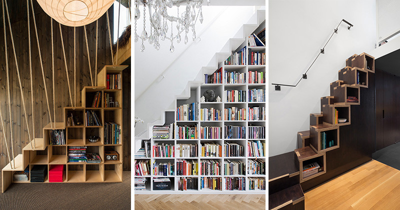 8 examples of stairs that do double-duty as bookshelves