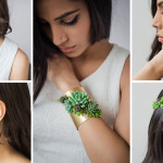 These jewelery designs are made with real living succulents