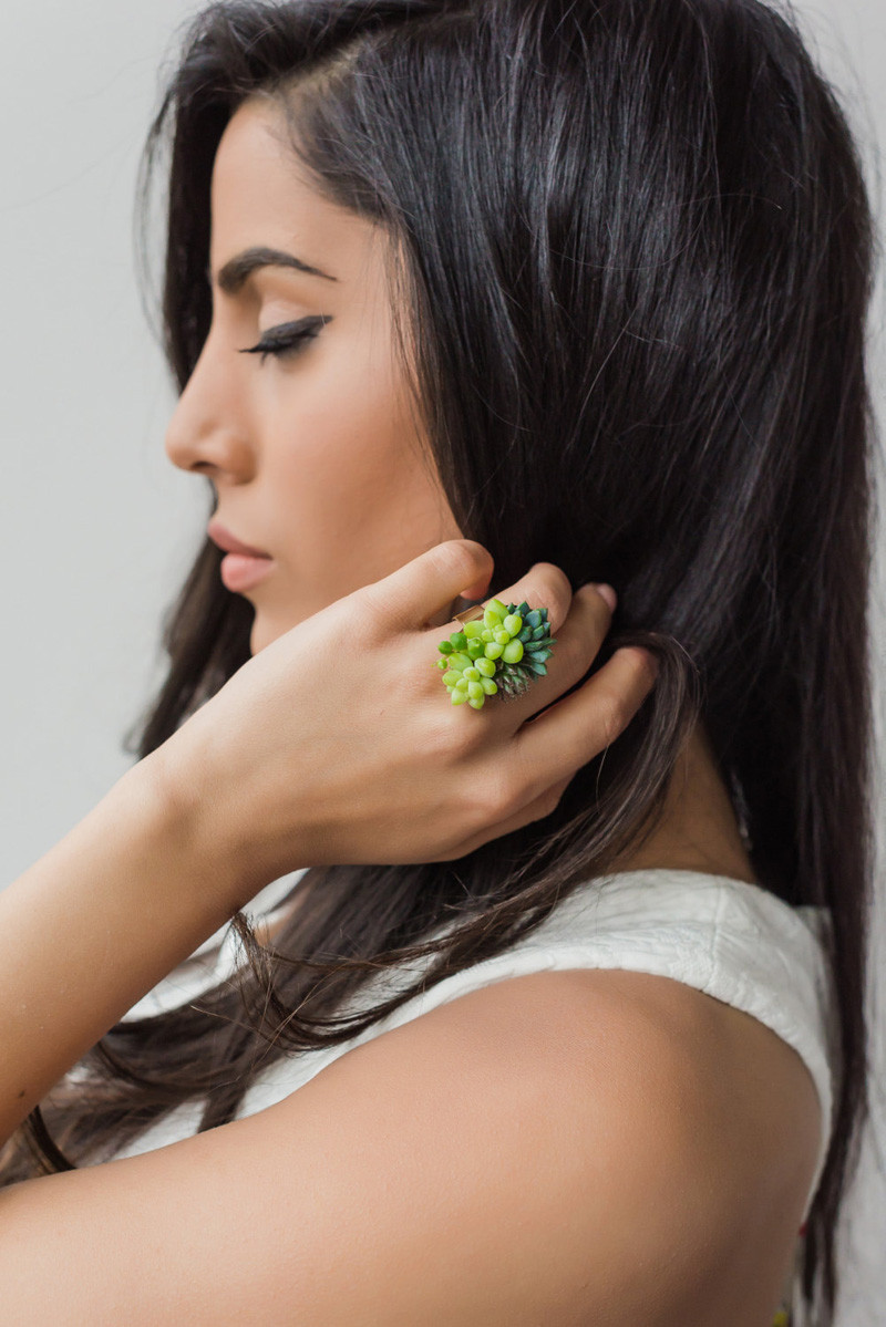 These jewelery pieces are made with real living succulents