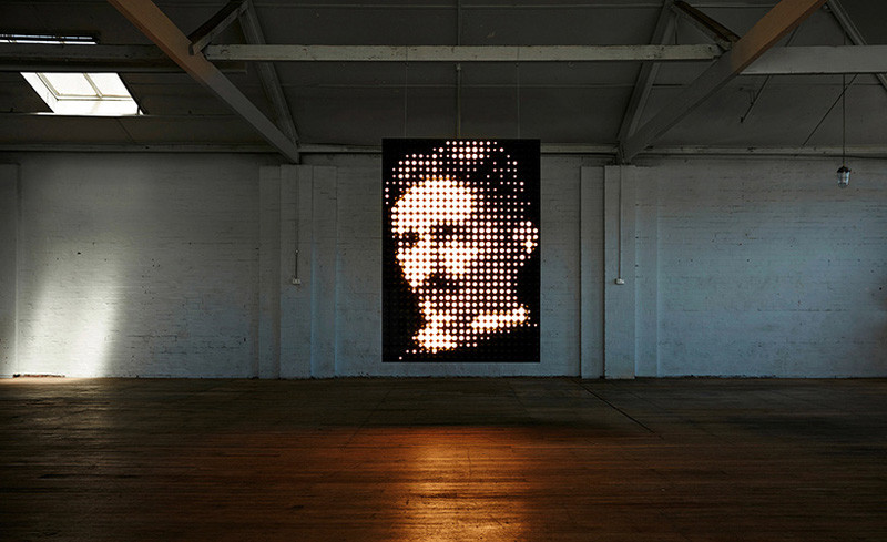 See how this illuminated portrait of Nikola Tesla was made