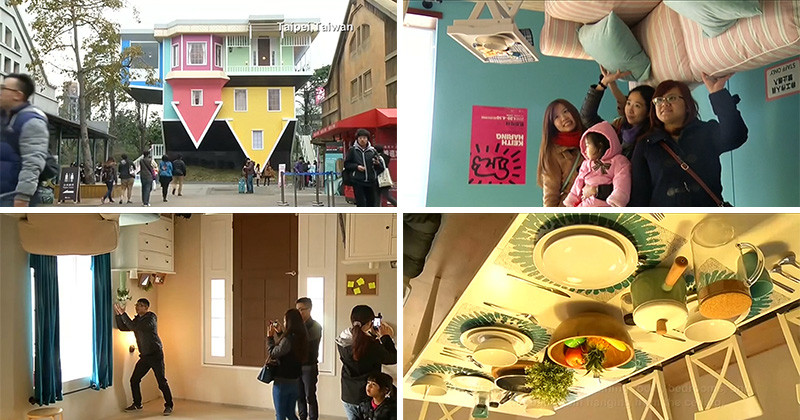 You can wander through this upside-down house in Taipei