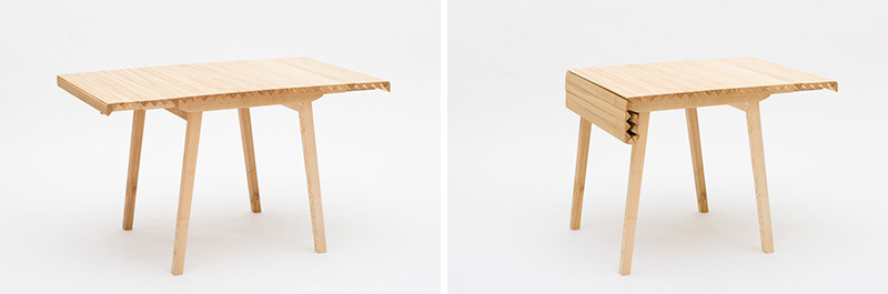 Watch how this wooden table top reduces in size