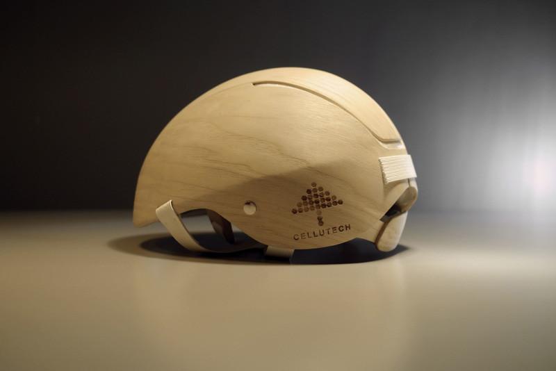Jesper Jonsson and Rasmus Malbert have designed a bike helmet made with wood