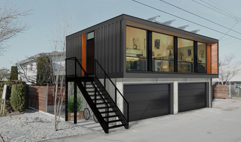A Canadian company called HonoMobo, have designed a new collection of living units made from shipping containers that can fit on top of a garage.