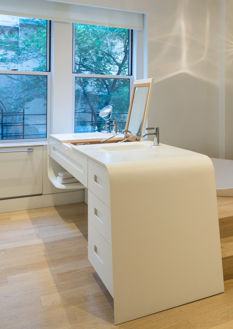 This bathroom was designed as part of a renovation at 67 Park Avenue by Chelsea Atelier Architect.
