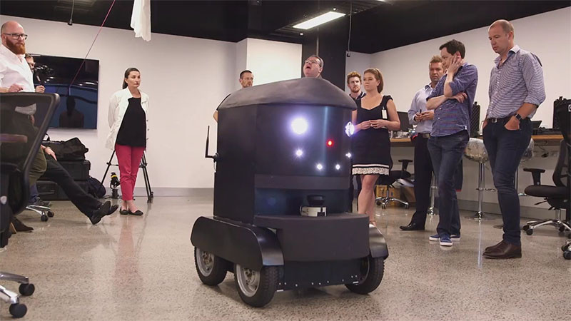 DRU, Domino's pizza delivery robot.