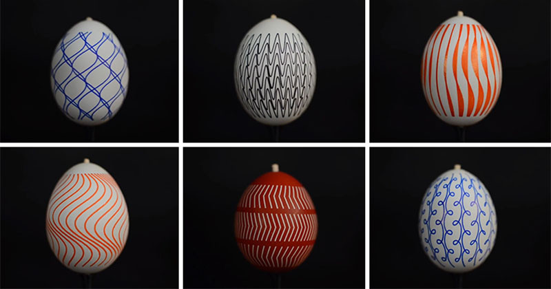 Learn how these patterns were put on eggs and watch what happens when they are turned