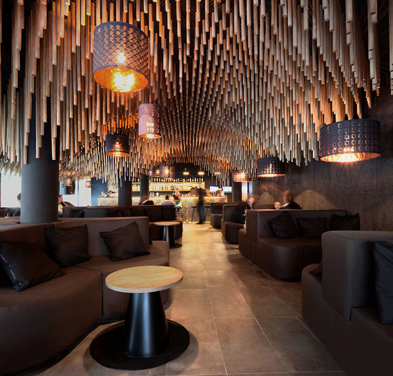 over 7400 wooden dowels cover the ceiling of this bar contemporist. Black Bedroom Furniture Sets. Home Design Ideas