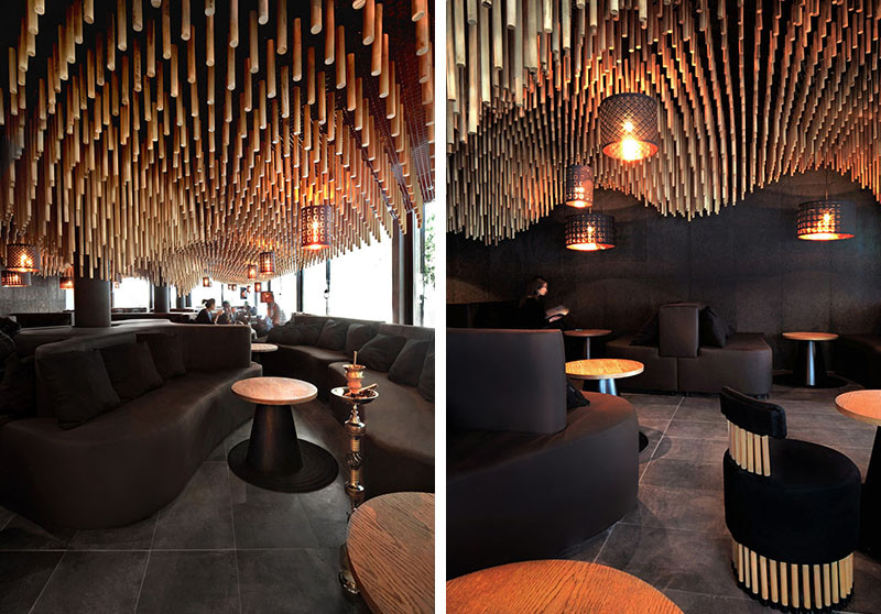 Over 7400 wooden dowels cover the ceiling of this bar contemporist - Shisha bar dekoration ...