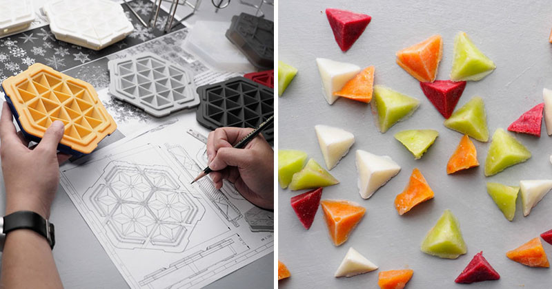 This ice cube tray has been designed to freeze liquids in 10 minutes