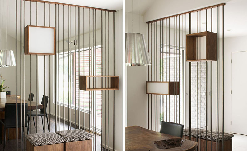 Design Detail – Metal rods and wood boxes were used to create a space divider