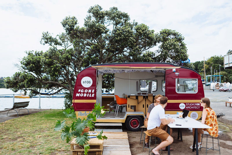 work outside so they made a mobile office in a caravan contemporist