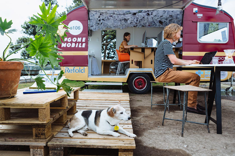 These architects wanted to work outside so they made a mobile office in a caravan