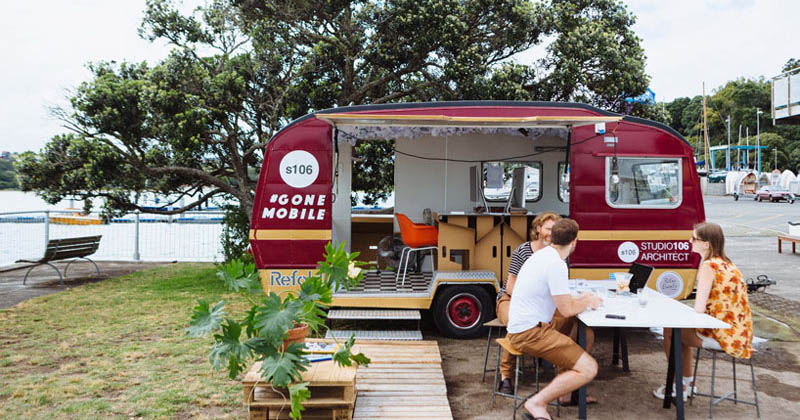 These architects wanted to work outside, so they made a mobile office in a caravan
