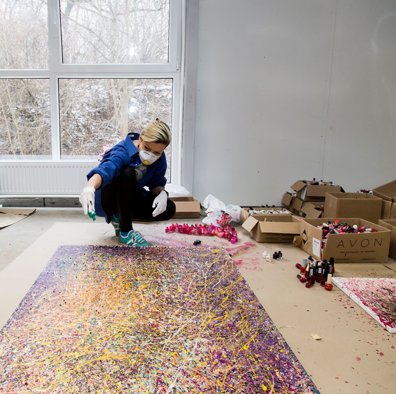 See How This Artist Creates Artwork From Used Nail Polish Bottles Contemporist